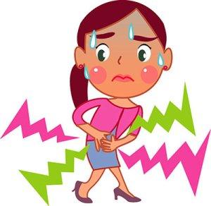 Girl with tummy ache
