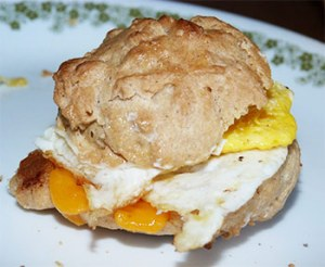 Biscuit with cheese and egg