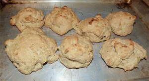 Cooked biscuits on pan.