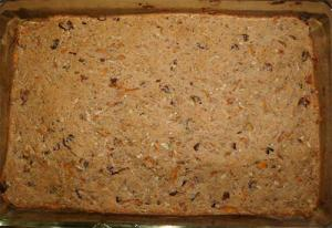 Apple Carrot Energy Bars fresh out of the oven still in the baking dish.