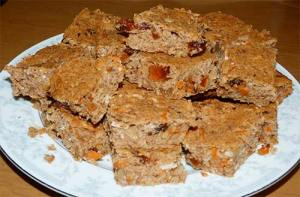 Apple Carrot Energy Bars with Sorghum, cut up and placed on a plate, ready to eat.