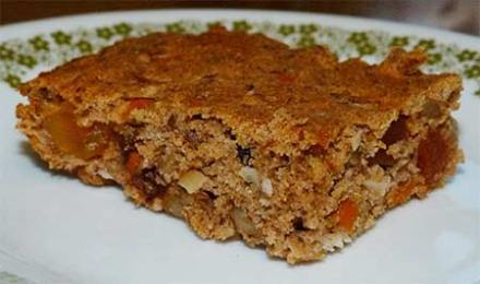 Close up of Gluten Free Apple Carrot Energy Bar with Sorghum on a plate.