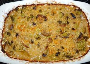Sorghum Broccoli Cheese Cassarole in dish straight out of the oven