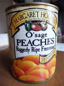 Photo of canned peaches used in the cobbler.