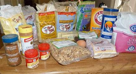 All the ingredients for the cookies set out on the counter before starting.