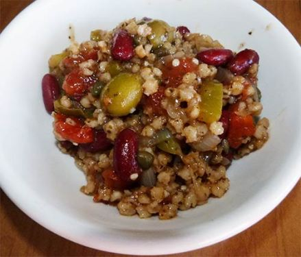 Caribbean whole grain sorghum in a bowl ready to eat.