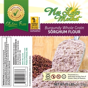 Package photo of whole grain sorghum flour from NuLife Market