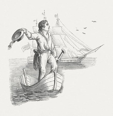Old etching of a man coming to shore from a sailing ship