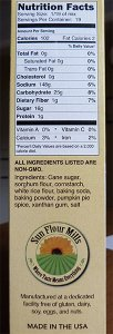 Sunflower Mills Pumpkin Cake Mix side of box showing ingredient list
