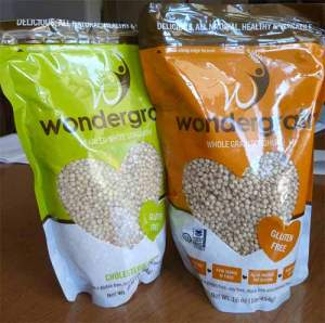 Two bags of Wondergrain whole grain sorghum.