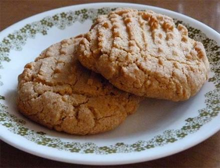 Close up of two peanut butter cookies on a dessert plate.