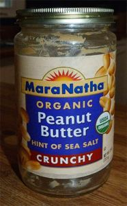 Close-up of MaraNatha Organic Crunchy Peanut Butter jar