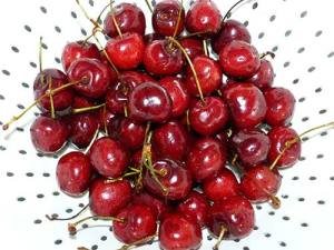 Bing cherries in white colander