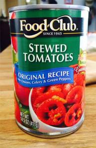 Close up of Food Club Stewed Tomates can.