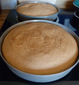Two golden, round cakes cooling in the baking pans.