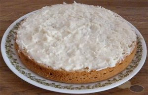 Bottom layer of cake with coconut icing spread over it.
