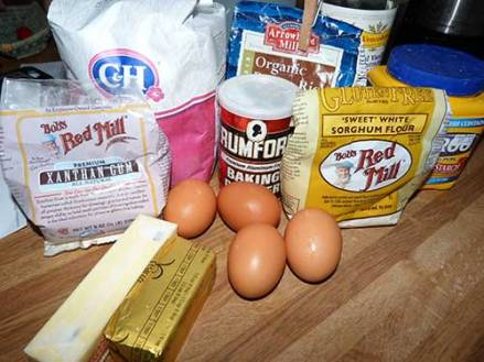 Pound cake ingredients lined up on the counter top.