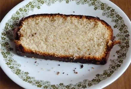 Gluten-free pound cake slice on dessert plate.