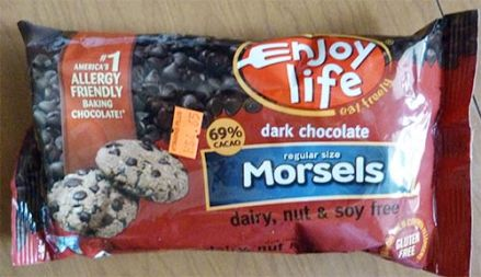 Package of Enjoy Life dark chocolate morsels.