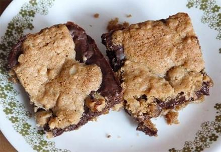 Two gluten-free oat fudge bars on a dessert plate.