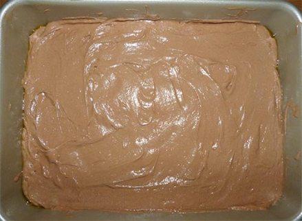 Cake pan containing gluten-free chocolate cake batter, ready to bake.