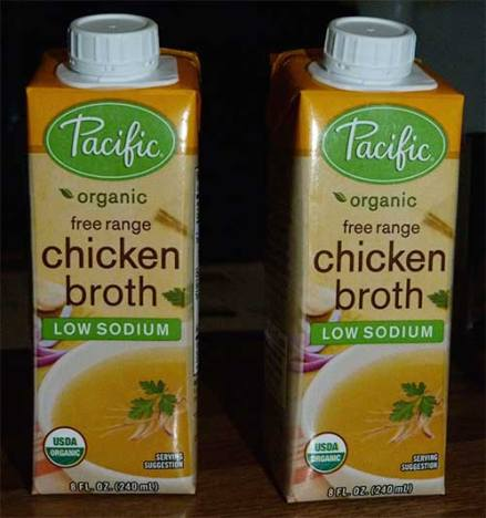 Two 8-oz. packages of Pacific low sodium chicken broth.