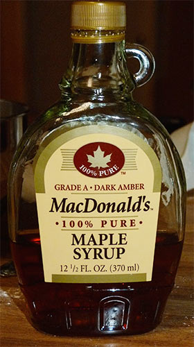 Bottle of MacDonald's maple syrup.