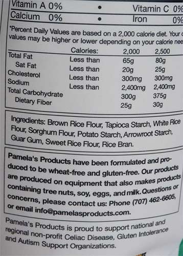 Ingredient list from the side of the Pamela's Artisan Flour bag.