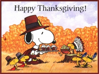 Snoopy and little yellow birds on Thanksgiving.