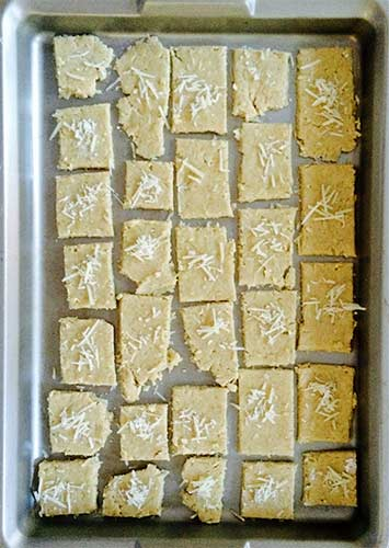 Gluten-free crackers on baking tray.