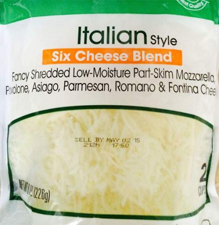 Package of Italian six-cheese blend.