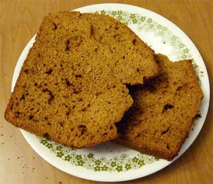Two slices of gluten-free molasses quick bread on a dessert plate.