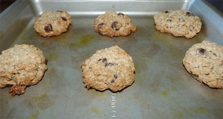 Baked cookies on a cookie sheet.