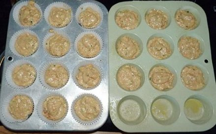 Two 12-muffin pans with batter added, ready to bake.