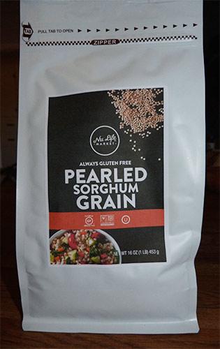 Front of Nu Life Pearled Sorghum Grain bag.