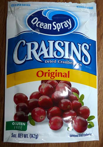 Package of Craisins - dried cranberries