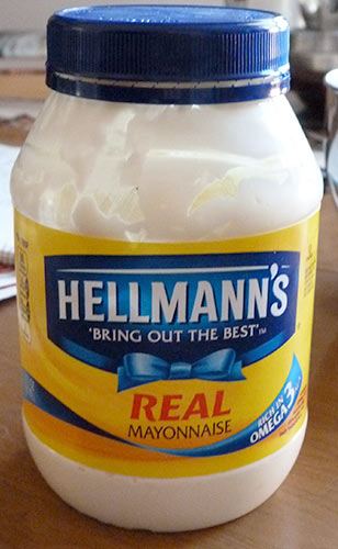Front of jar of Hellmann's mayonnaise.