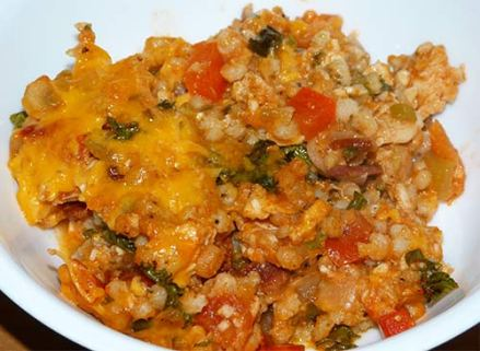Finished sorghum chicken casserole in a bowl.