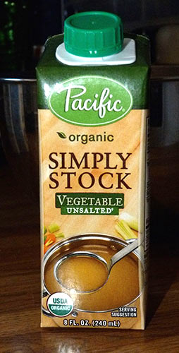 8 oz package of Pacific organic vegetable stock.