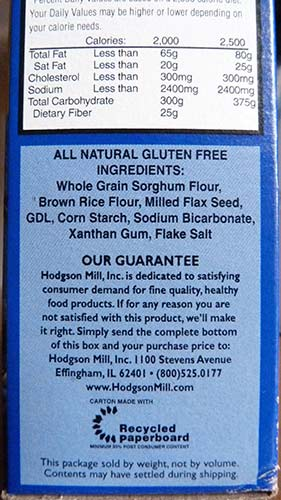 Side of Hodgson Mill pancake mix box showing the ingredients.
