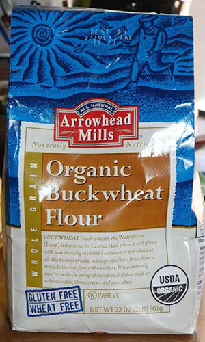 Front of package of Arrowhead Mills Organic Buckwheat Flour.